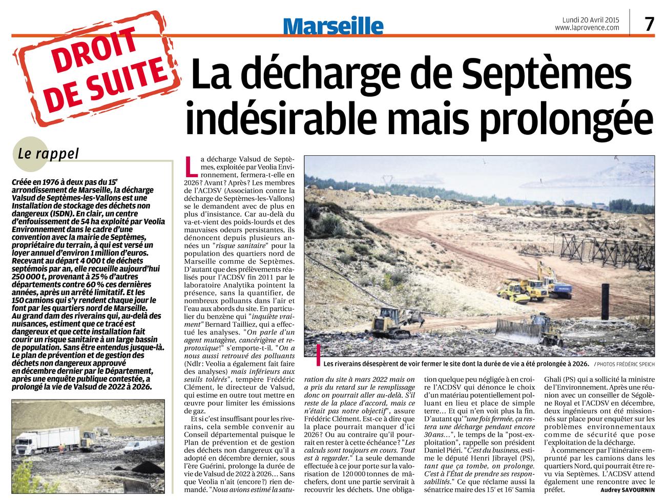 """20.04.2015 > LA PROVENCE : """"La décharge de Septèmes indésirable mais prolongée"""""""
