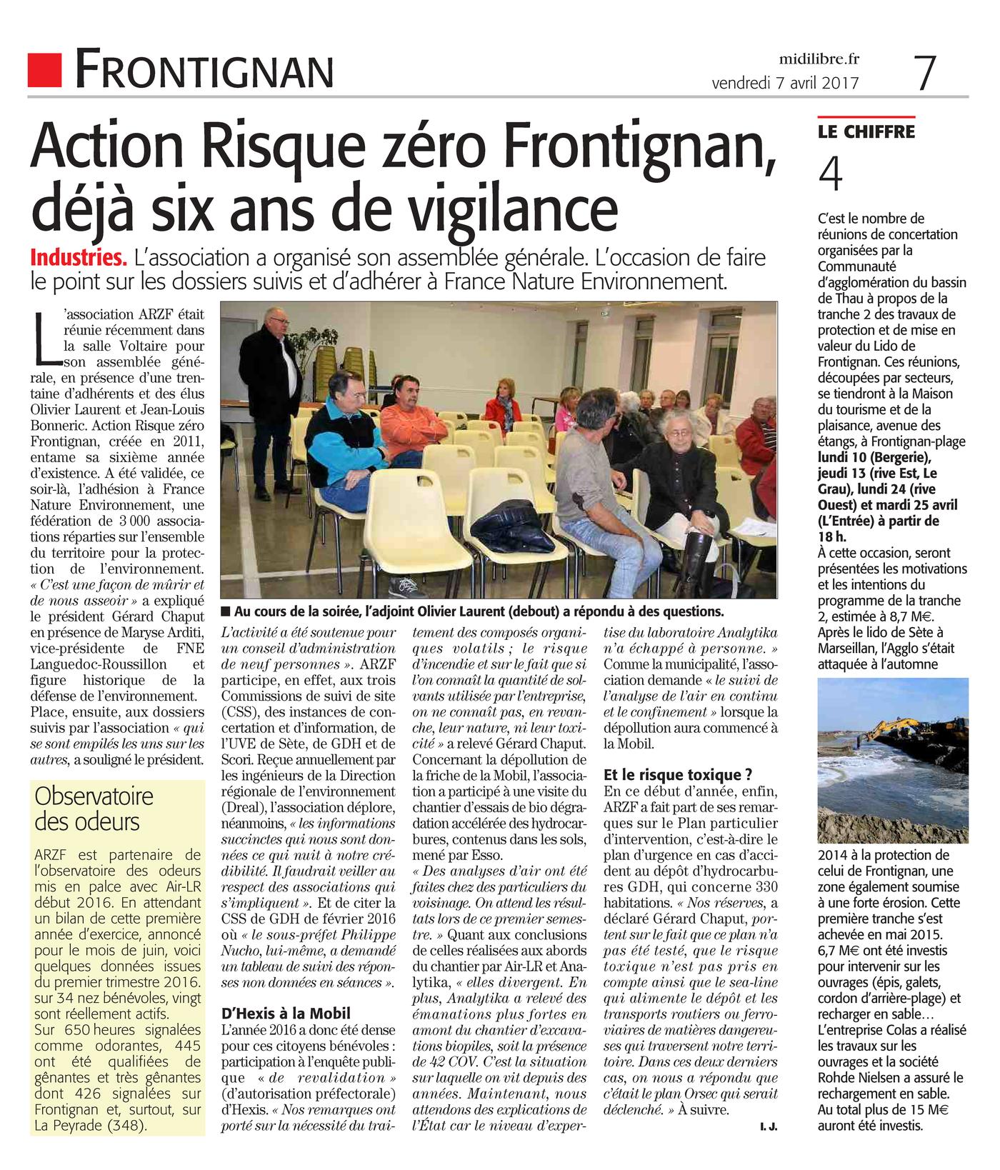 "07.04.2017 > MIDI-LIBRE :""Action Risque zéro Frontignan déjà six ans de vigilance"""