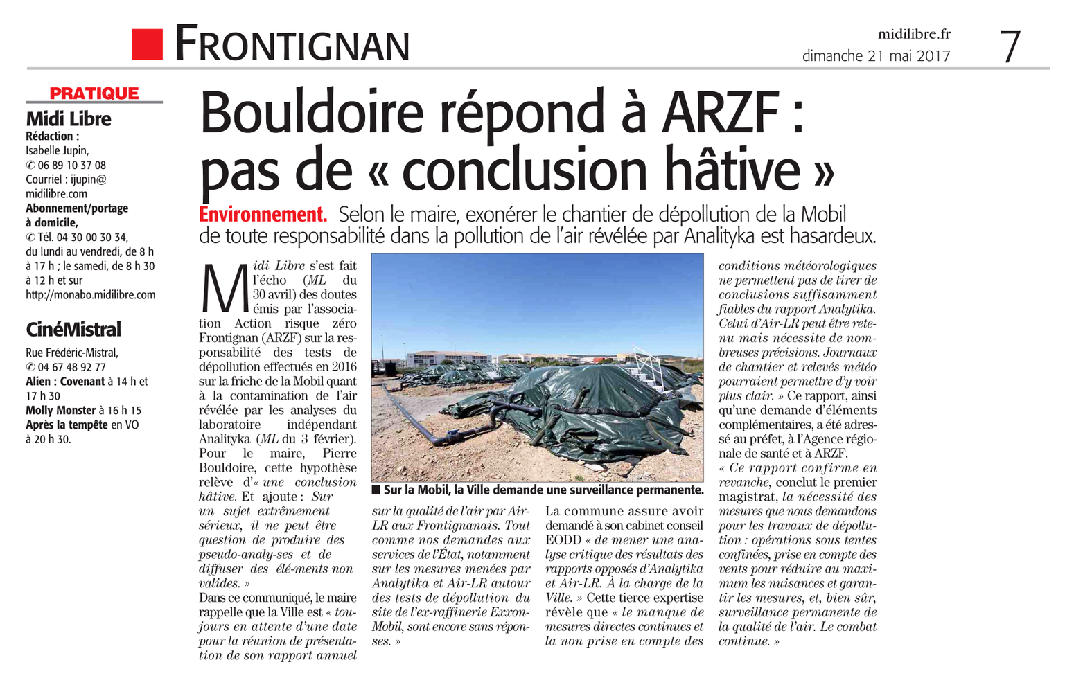 """21 MAI 2017 > MIDI-LIBRE : """"Frontignan : Pollution de l'air : Bouldoire répond à ARZF : « Pas de conclusion hâtive »"""""""