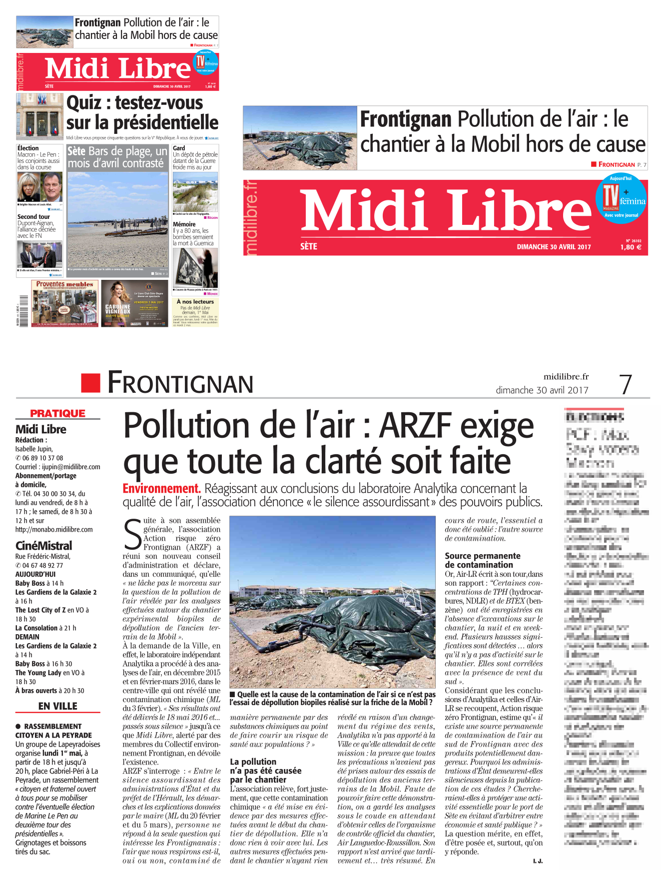 "30 AVRIL 2017 > MIDI-LIBRE : ""Frontignan : Pollution de l'air : L'association ARZF exige que toute la clarté soit faite"""