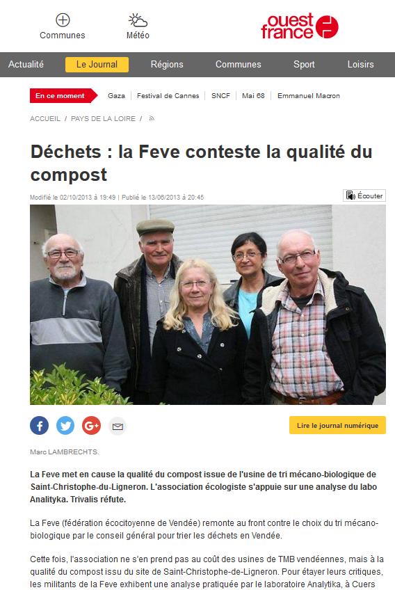 """14.06.2013 > OUEST-FRANCE Pays de la Loire : """"Déchets : La Feve conteste la qualité du compost Trivalis"""""""