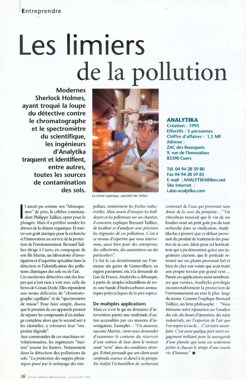 "15 JUILLET 1999 > VAR MAGAZINE : ""Les limiers de la pollution"""