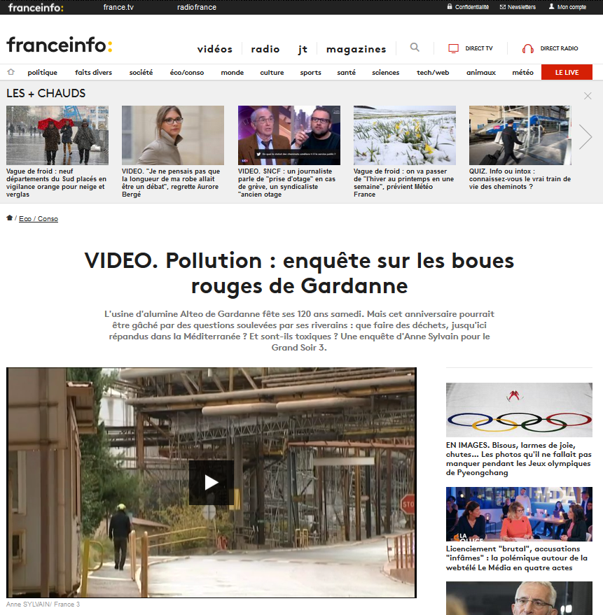 "11.12.2014 > FRANCE INFO : ""Pollution : enquête sur les boues rouges de Gardanne"""