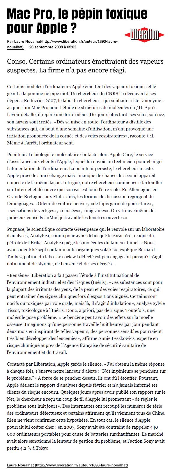 """26 SEPT 2008 > LIBERATION : """"MacBook Pro : Le pépin toxique pour Apple?"""""""