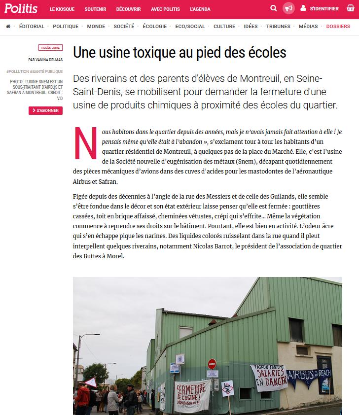 """04.09.2017 > POLITIS : """"Montreuil : Une usine toxique au pied des écoles"""""""