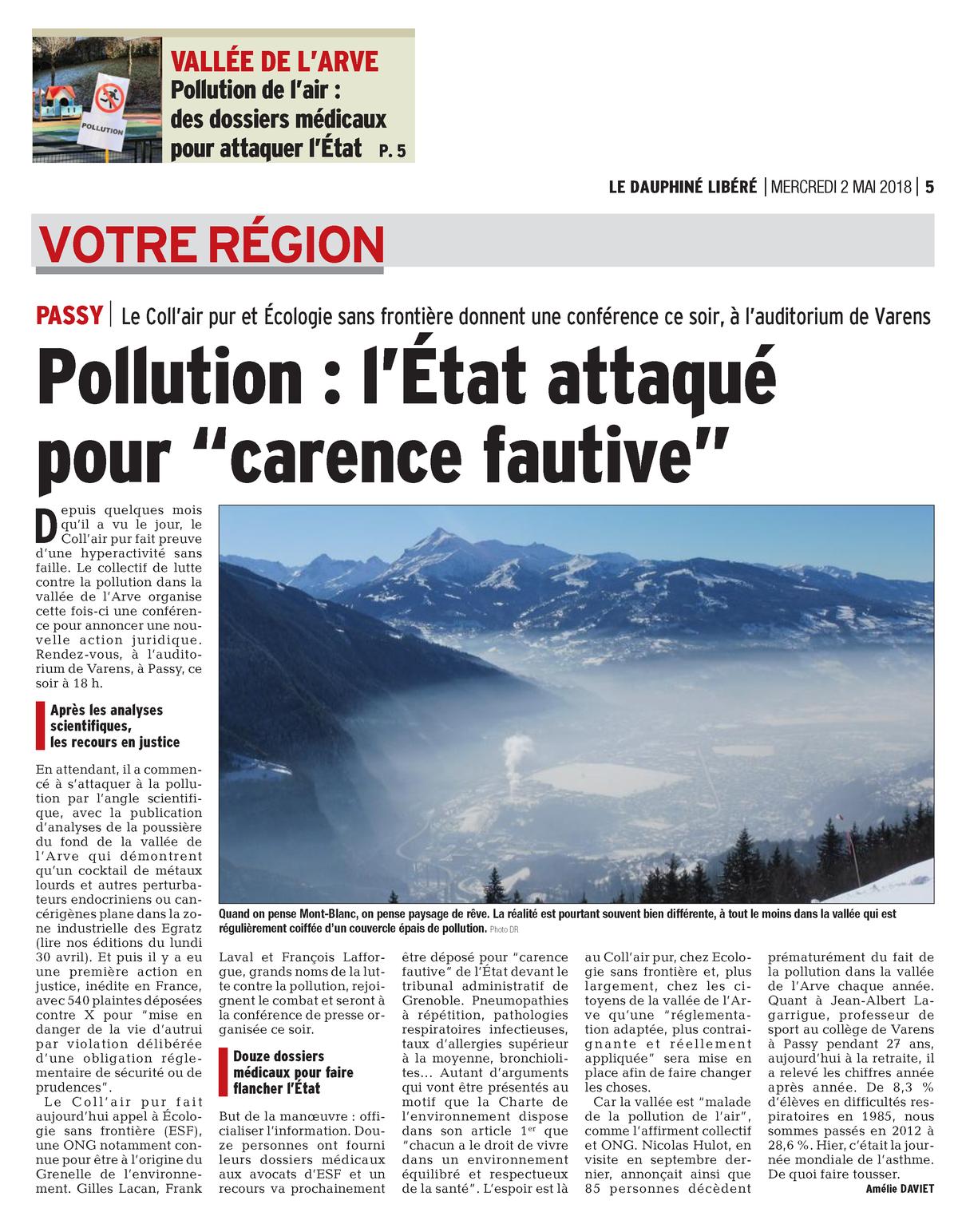 """02.05.2018 > LE DAUPHINÉ LIBÉRÉ : """"Pollution dans la Vallée de l'Arve : L'État attaqué en justice pour 'carence fautive'"""""""