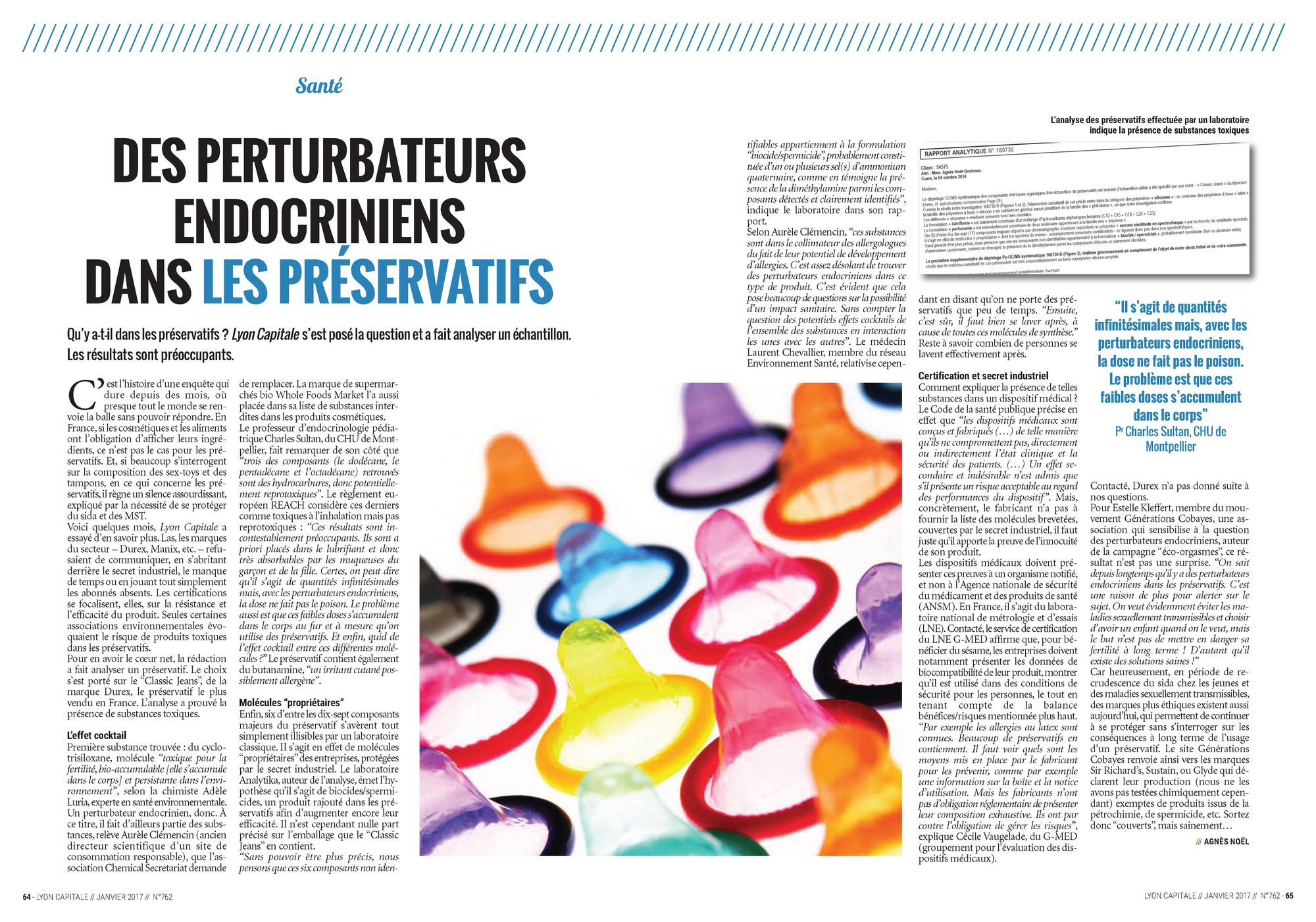 """09.01.2017 > LYON CAPITALE : """"Des perturbateurs endocriniens dans les préservatifs"""""""