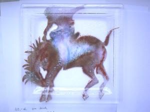 Fertige Glasschale mit Rodereiter- Motiv
