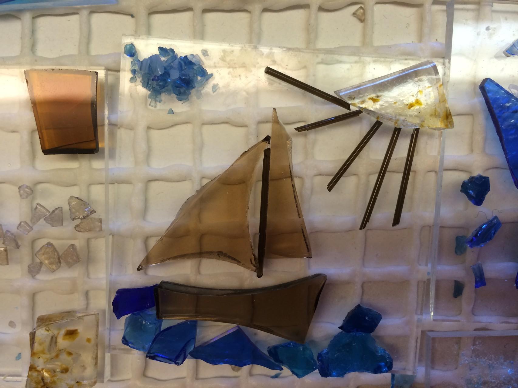 """und noch ein Glas- Segelschiff auf hoher See. """"Nichts ist unmöglich!"""""""