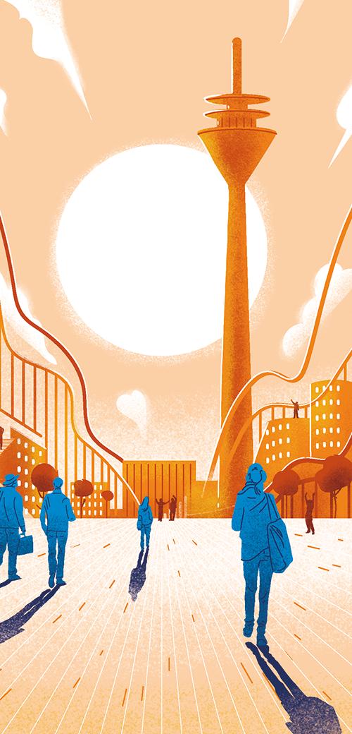 Illustration Besatzung schiebt gestrandeten Schiff ins Meer