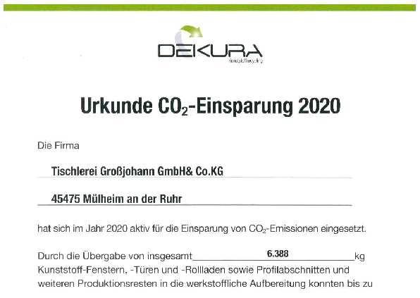 PVC Recycling: 2020 über 10.000 kg CO2e eingespart.