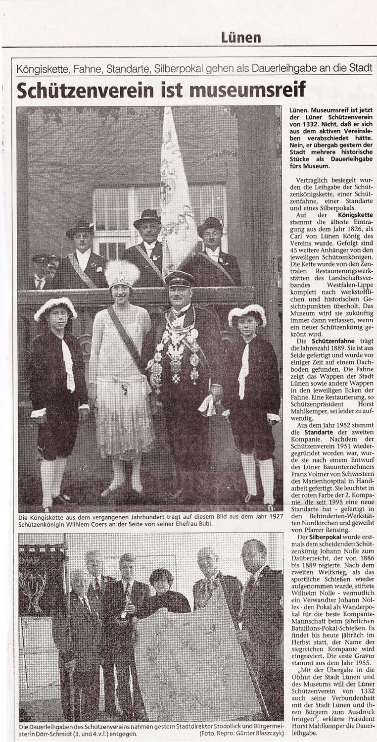 """Zeitung Januar 1998, verm. Westf. Rundschau, zum vergrößern """"anklicken"""""""