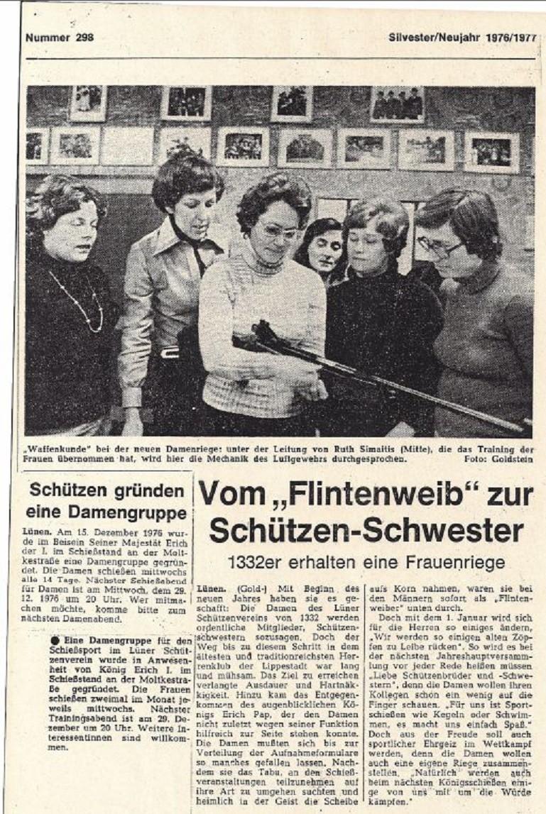 Gründung der Damenschießgruppe am 15.Dezember 1976