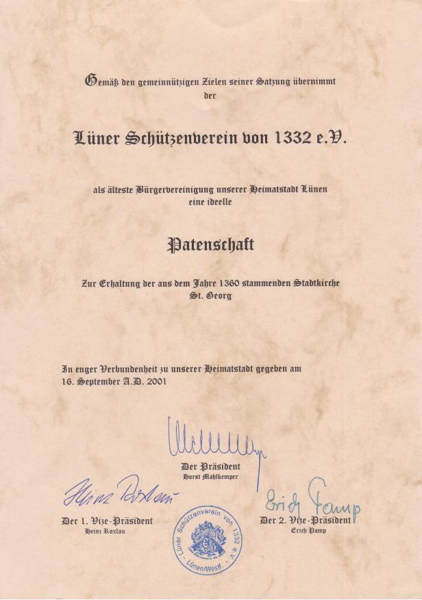 """Die offizielle Patenschaftsurkunde (zum vergrößern Bild """"anklicken"""")"""