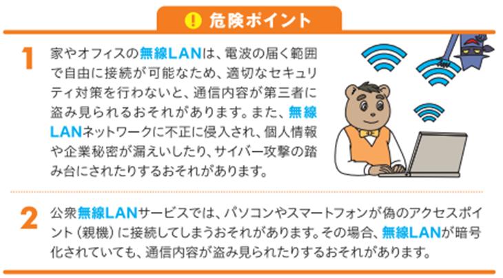 無線LAN対策。内閣サイバーセキュリティセンターNISC掲載情報安心安全・セキュリティに関する防御、万全のマルウェア(ウィルス、ワーム、トロイの木馬)対策ノウハウ。