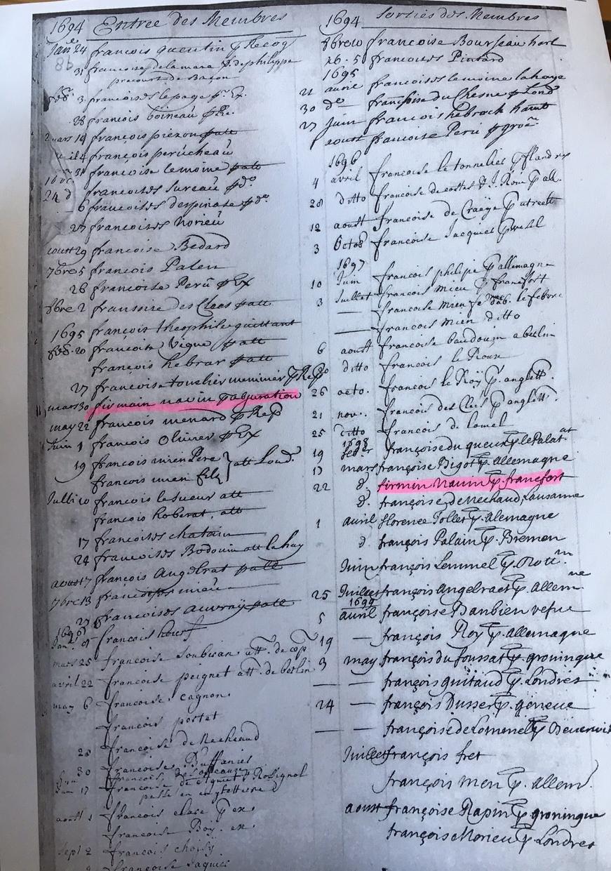 waalse kerk Amsterdam register Firmin Navin