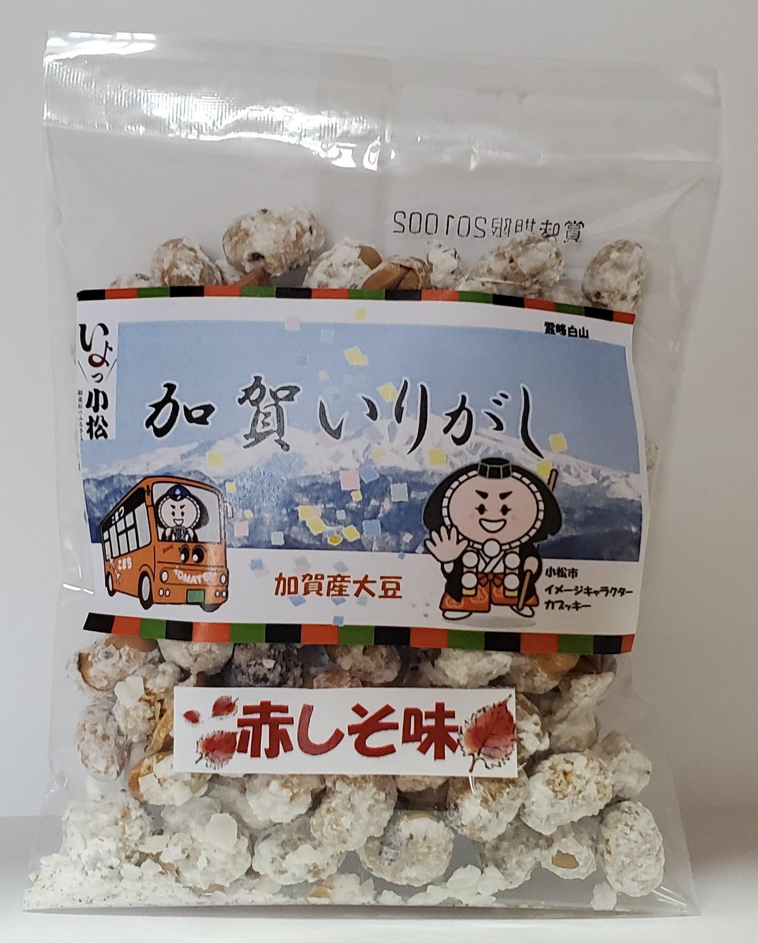 赤しそ味(50g・120g)…赤しそと大豆の甘じょっぱい味。