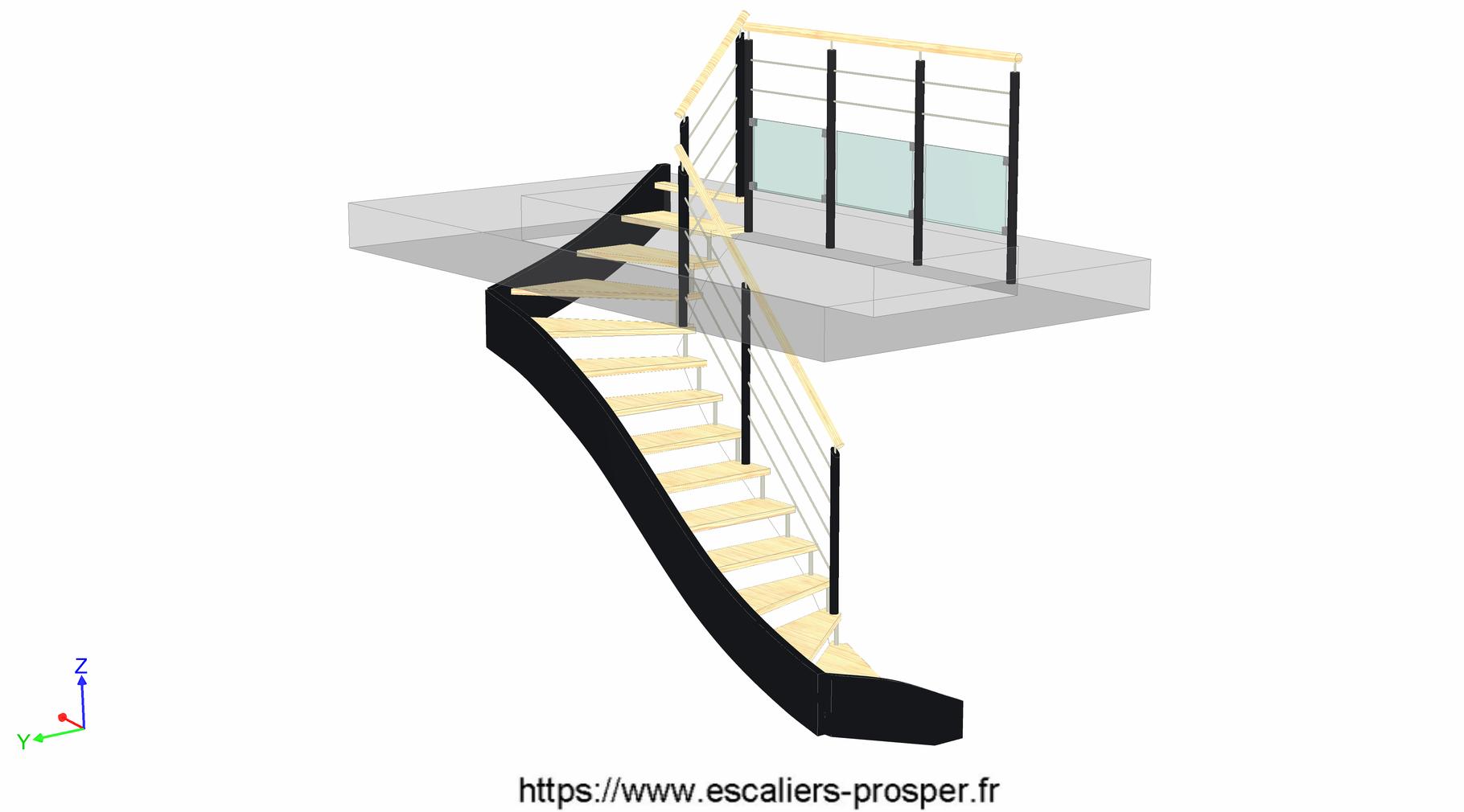 escalier en u suspendu e15 171 sd r1 escaliers prosper sp cialiste de la conception la pose. Black Bedroom Furniture Sets. Home Design Ideas