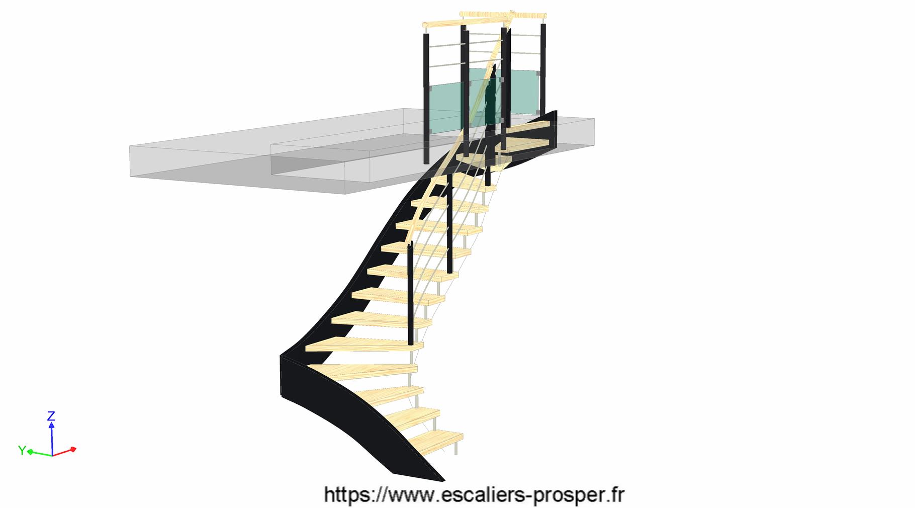 escalier en u suspendu douilles e15 171 sd rdc escaliers prosper sp cialiste de la. Black Bedroom Furniture Sets. Home Design Ideas
