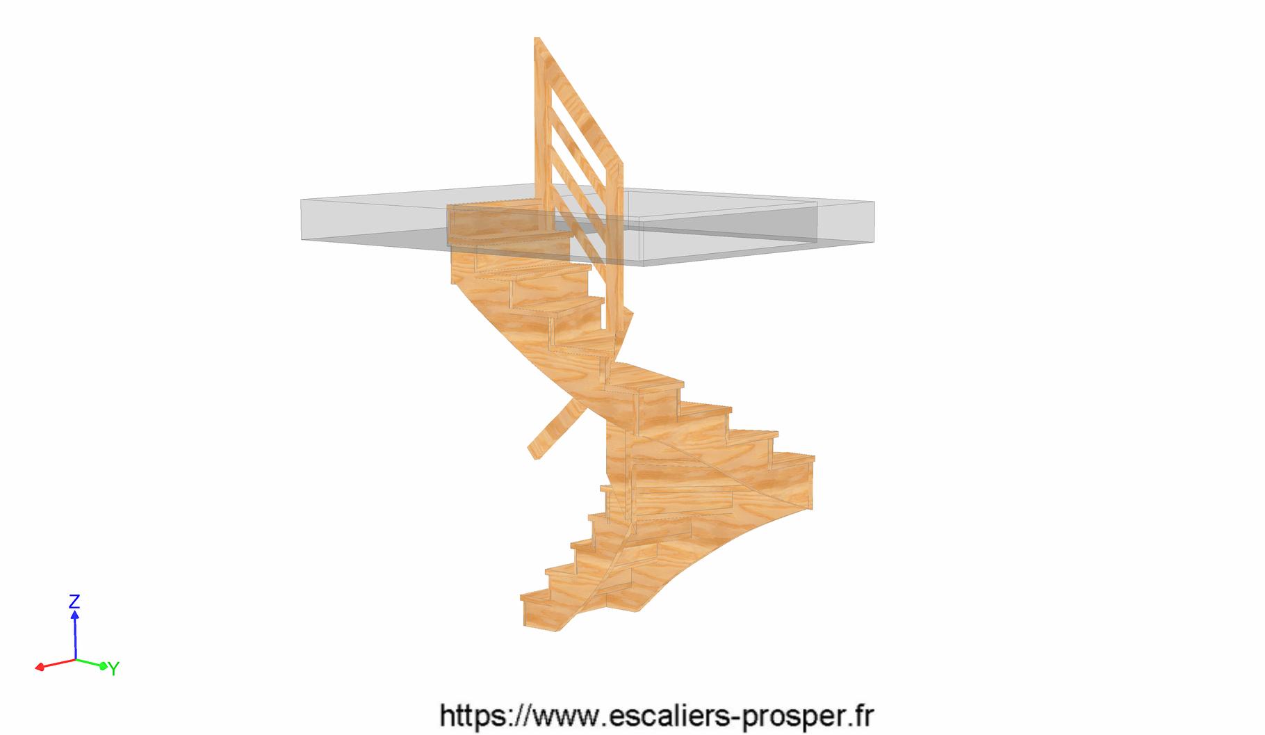 escalier en u l 39 anglaise e15 042 b rdc escaliers. Black Bedroom Furniture Sets. Home Design Ideas