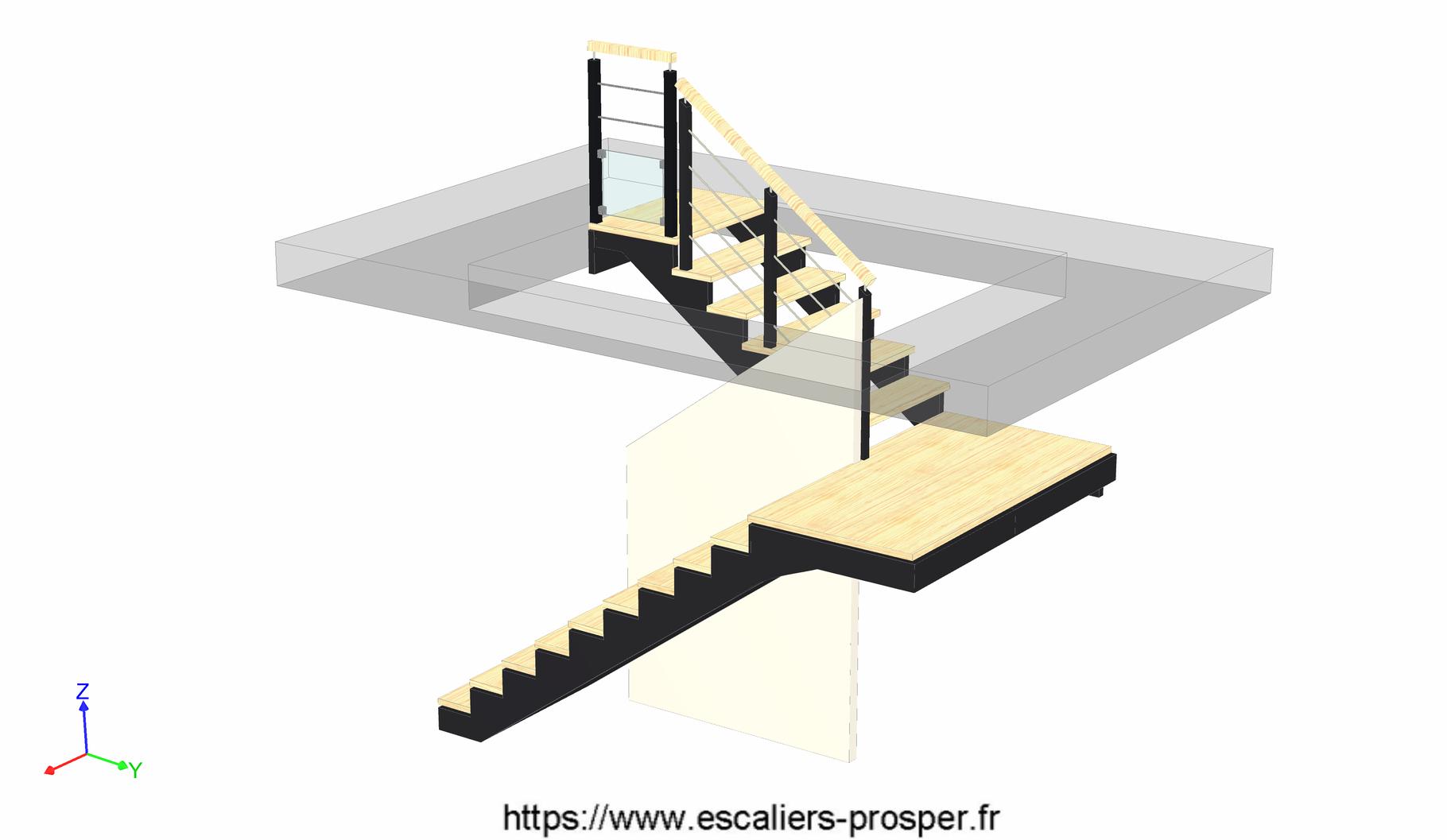 escalier en u l 39 anglaise e15 098 escaliers prosper sp cialiste de la conception la pose. Black Bedroom Furniture Sets. Home Design Ideas