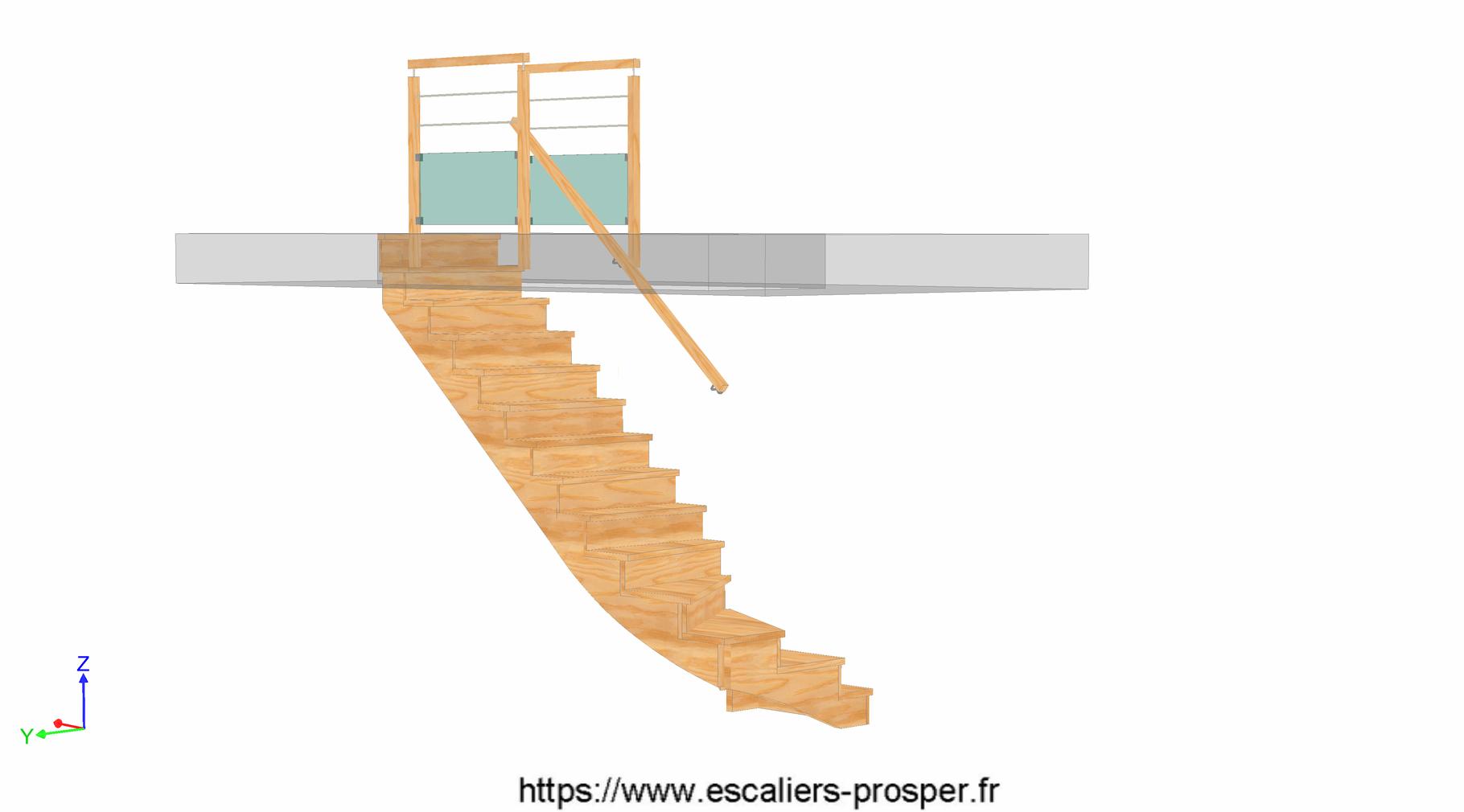 escalier en l l 39 anglaise e15 151 escaliers prosper sp cialiste de la conception la pose. Black Bedroom Furniture Sets. Home Design Ideas