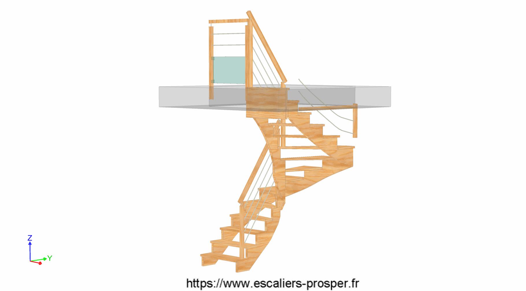 escalier en u l 39 anglaise e15 162 escaliers prosper sp cialiste de la conception la pose. Black Bedroom Furniture Sets. Home Design Ideas