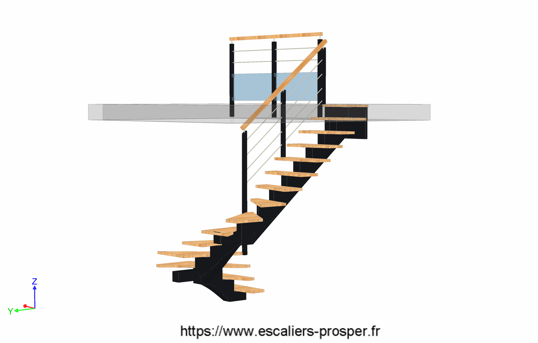escalier en u limon central cr maill re e15 082 escaliers prosper sp cialiste de la. Black Bedroom Furniture Sets. Home Design Ideas