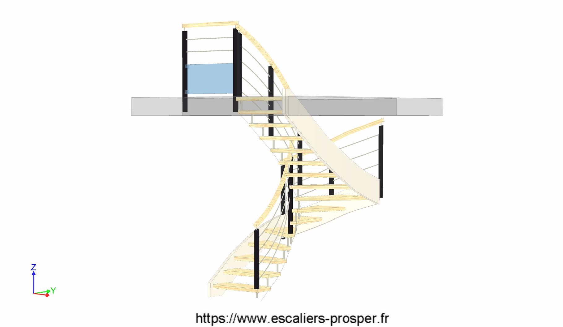 escalier en u suspendues sur douilles e15 020. Black Bedroom Furniture Sets. Home Design Ideas