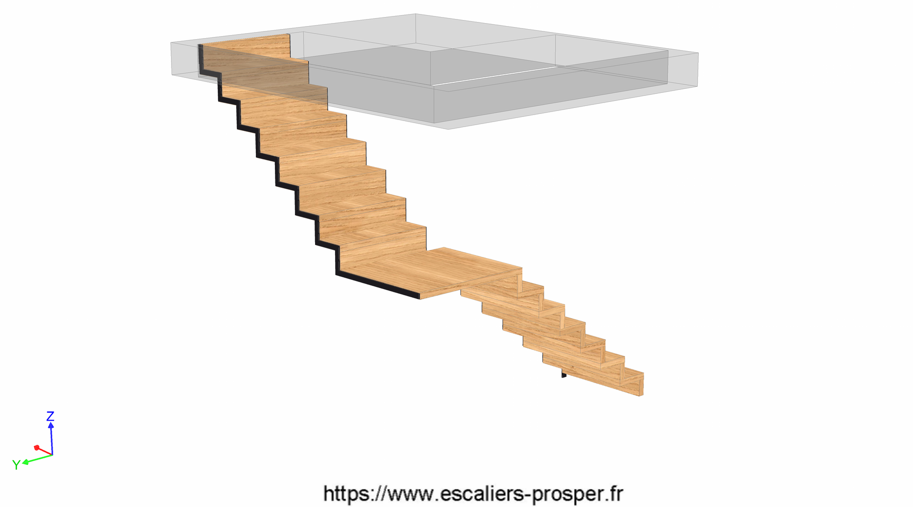 escalier en l en cr maill re pleine e15 180 escaliers prosper sp cialiste de la conception. Black Bedroom Furniture Sets. Home Design Ideas