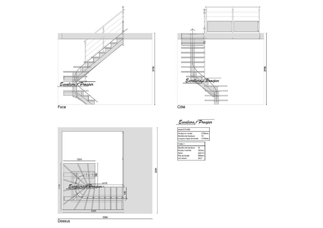 escalier en u limon central cr maill re e15 082. Black Bedroom Furniture Sets. Home Design Ideas