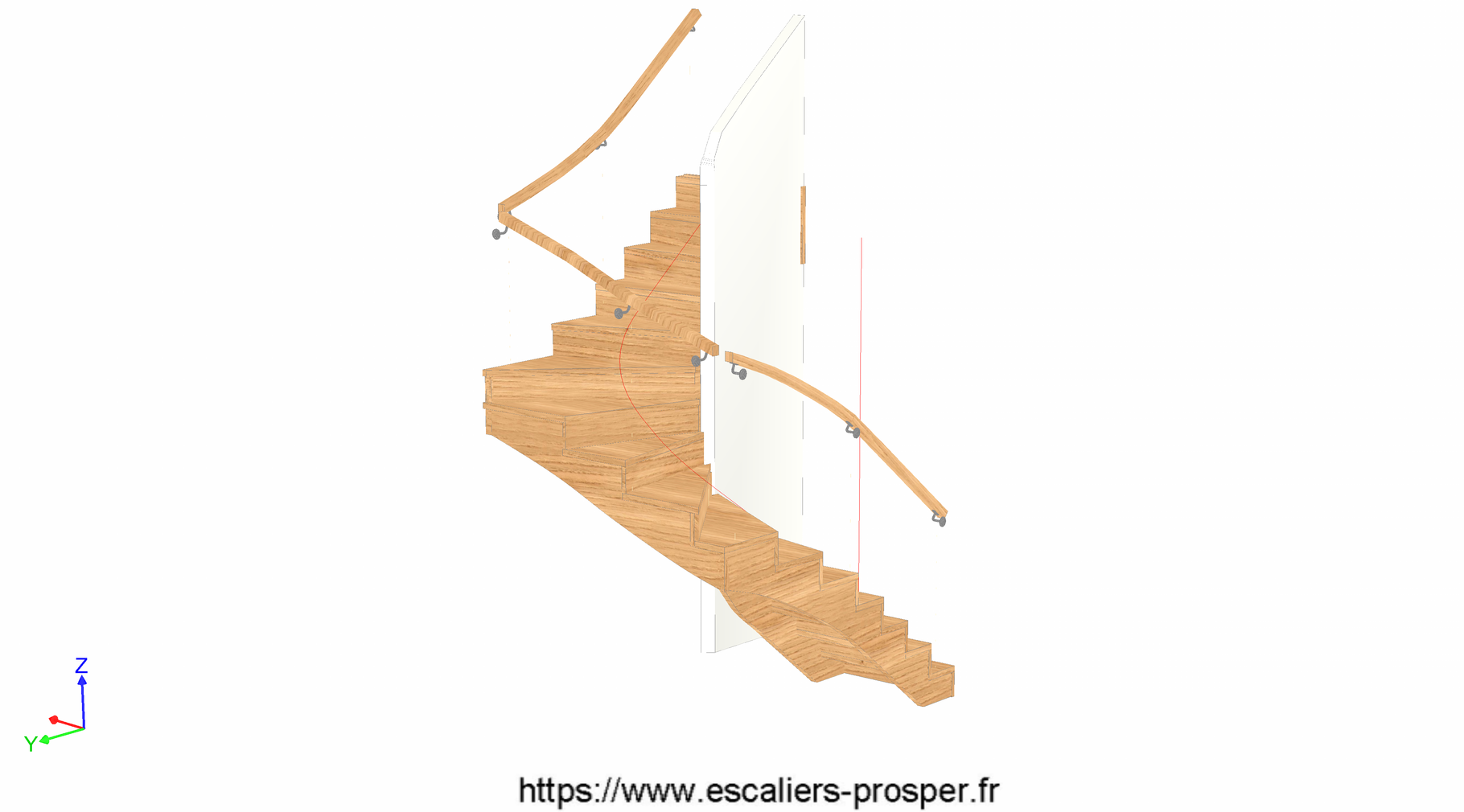 escalier en u l 39 anglaise e15 173 r1 escaliers prosper sp cialiste de la conception la pose. Black Bedroom Furniture Sets. Home Design Ideas
