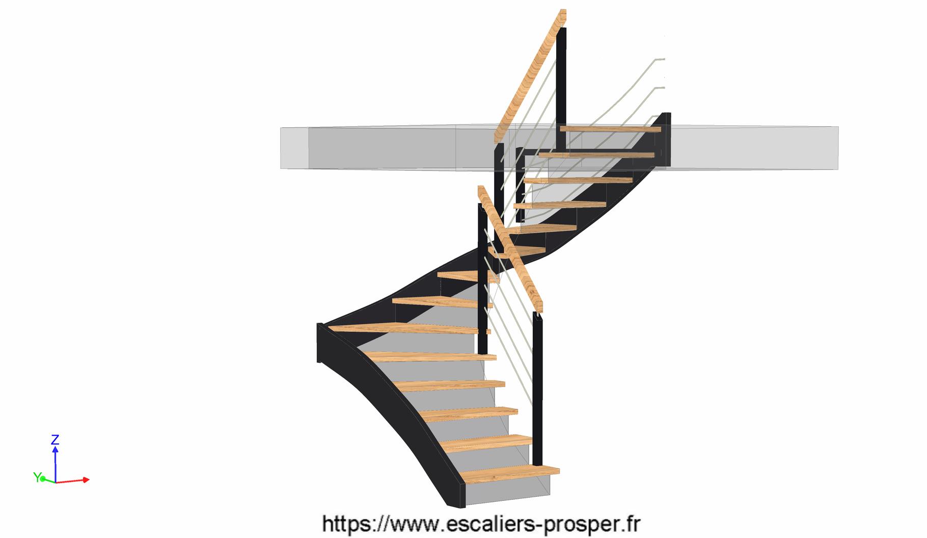 escalier en u suspendu m tiss e15 146 r1 escaliers prosper sp cialiste de la conception. Black Bedroom Furniture Sets. Home Design Ideas