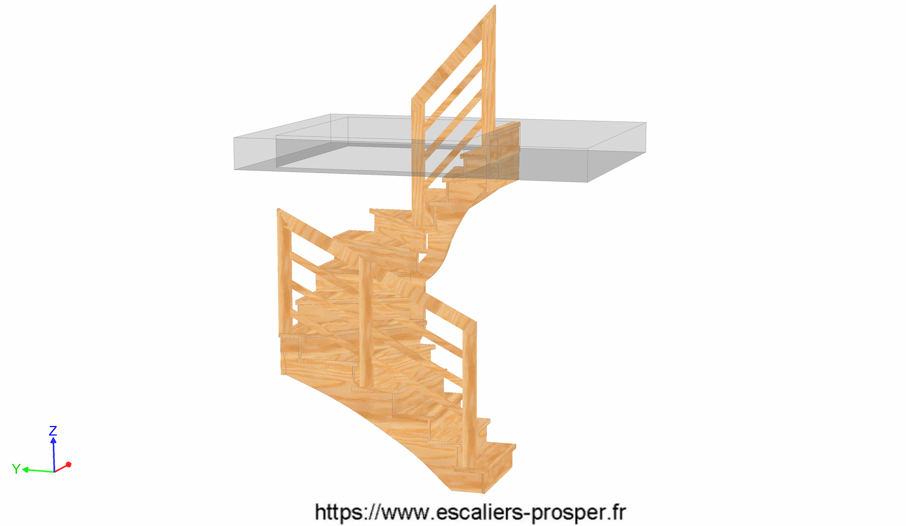 escalier en u l 39 anglaise e15 042 a rdc escaliers prosper sp cialiste de la conception. Black Bedroom Furniture Sets. Home Design Ideas