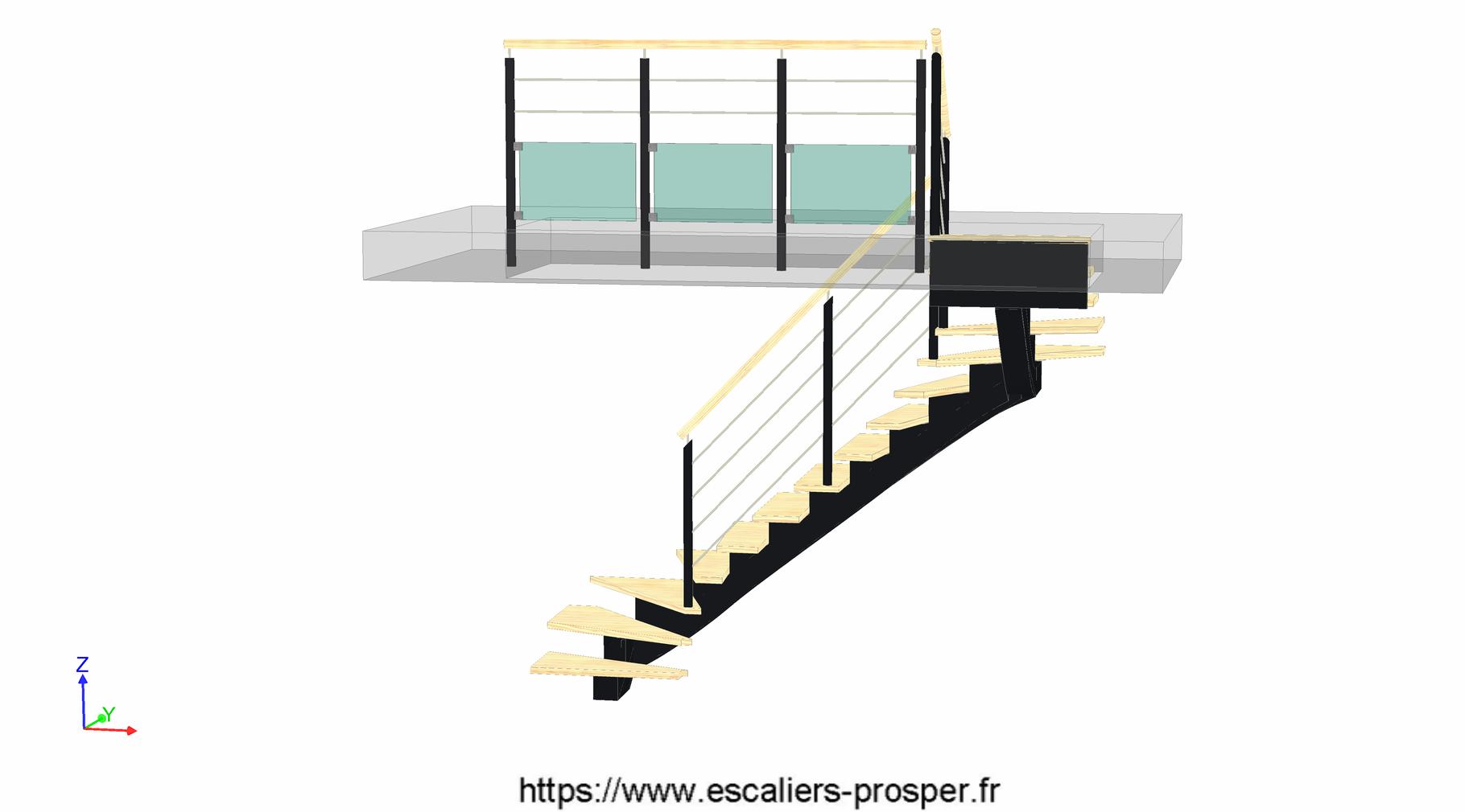 escalier en u limon central cr maill re e15 171 r1. Black Bedroom Furniture Sets. Home Design Ideas
