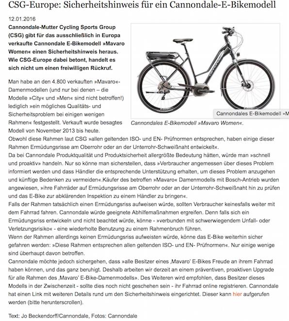 Textquelle: http://www.radmarkt.de/nachrichten/csg-europe-sicherheitshinweis-fuer-cannondale-e-bikemodell