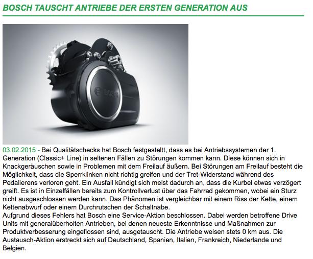 Bosch tauscht Antriebe der ersten Generation