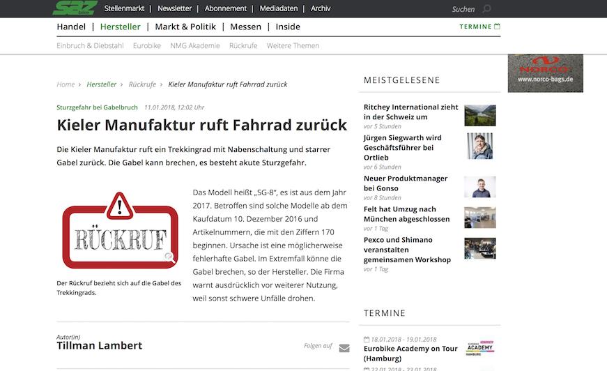 Kieler Manufaktur rückrufe testergebnisse ii fahrrad werkstatt cuxhaven