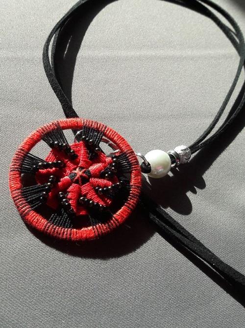 Heike: Zwirnknopf-Anhänger mit Perlenspirale