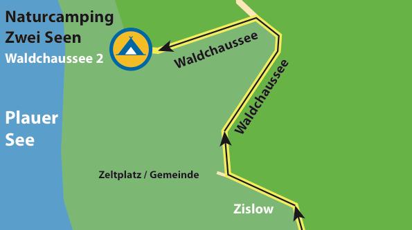 Anfahrt zum 2. Campingplatz in Zislow: Naturcamping ZWEI SEEN © www.zweiseen.de