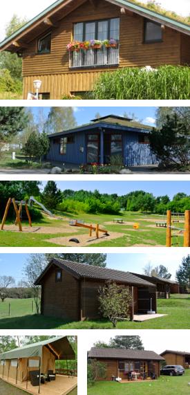 Naturcamping Zwei Seen: Gaststätte, Sanitäranlagen, Spielwiese, Blockhäuser und Safarizelte