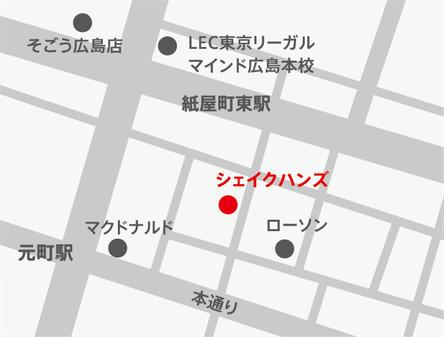 ミスターアイフィクス地図。iphoneアイフォンなら広島市中区紙屋町本通り近くのミスターアイフィクス広島で修理