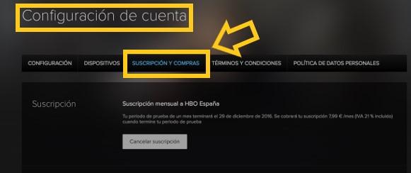 Suscripcion y compras HBO España