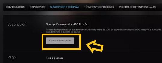 Cancelar HBO España