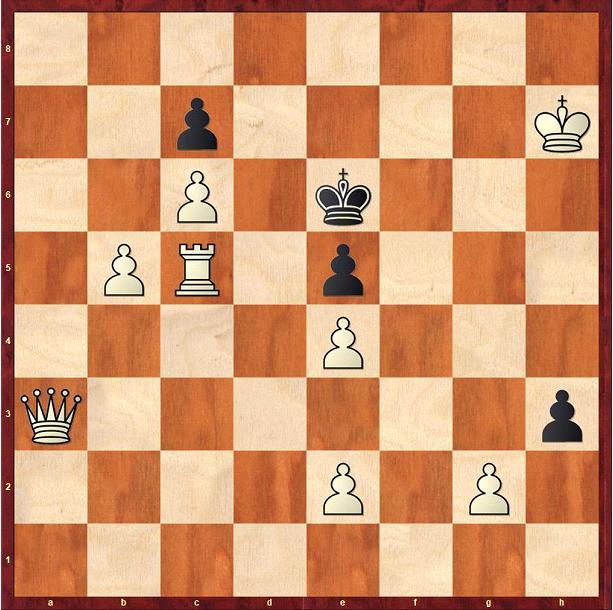 Schachaufgabe: (von Efim Bogoljubow) - Weiß zieht und setzt in drei Zügen Matt.