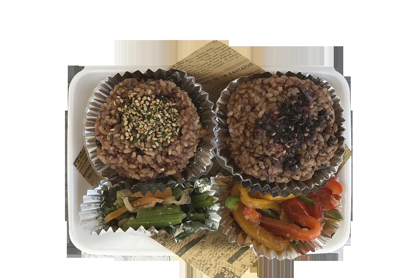 お結び弁当(お結び2個と副菜2種)