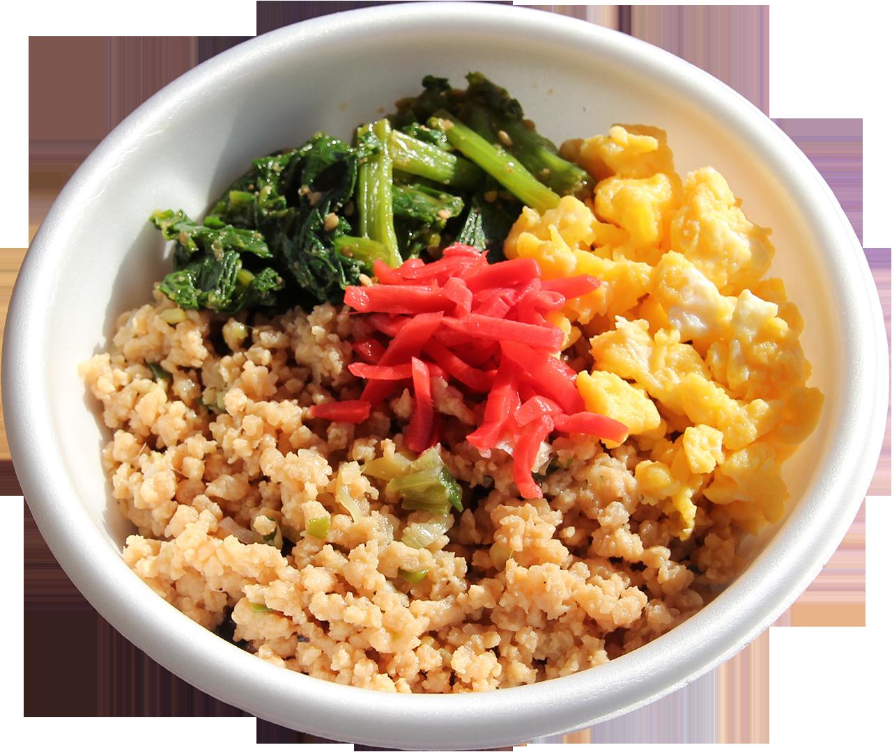三色そぼろ丼(食感はまるでお肉、大豆ミート使用)