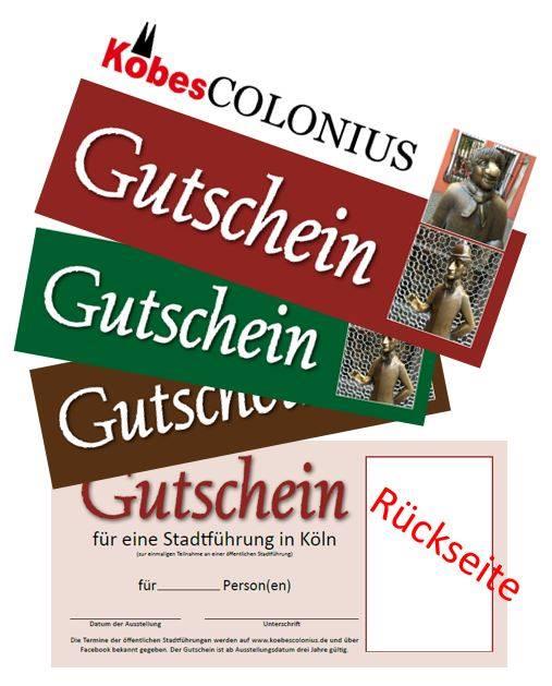 Muster von Gutscheinen für die Stadtführungen in Köln