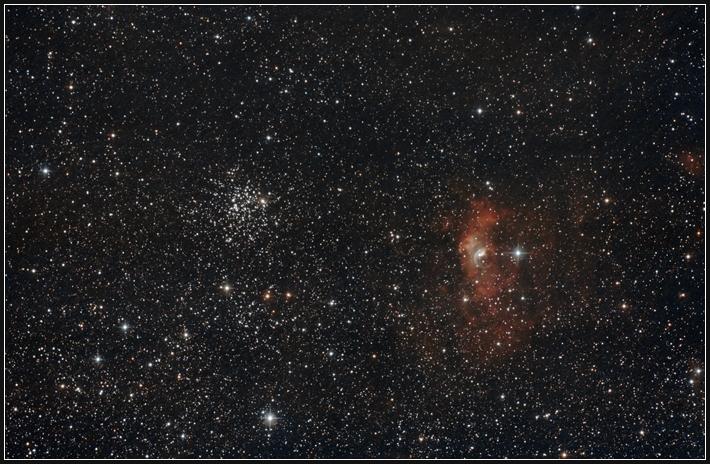 M52 und NGC 7635 (Bubble-Nebel)