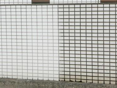 外壁プラチナ触媒 施工、未施工比較